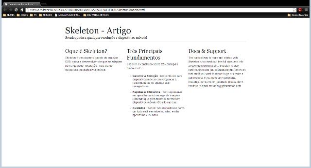 Modo de exibição padrão com o navegador maximizado
