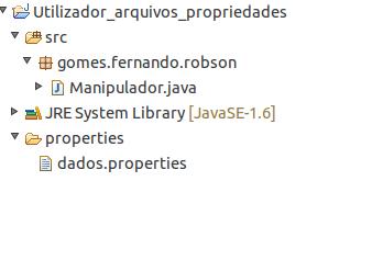 Localização do arquivo de propriedades dentro da pasta properties no projeto