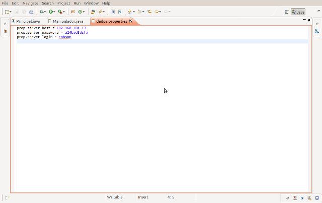 Conteúdo do arquivo de propriedades dados.properties visto no Eclipse