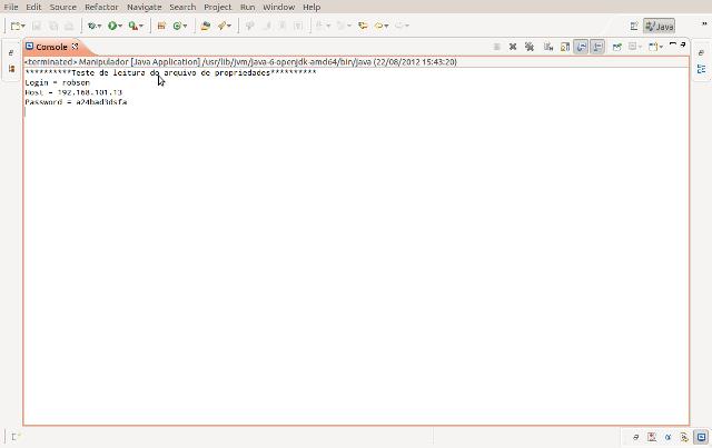 Resultado da execução do programa visto no console do Eclipse