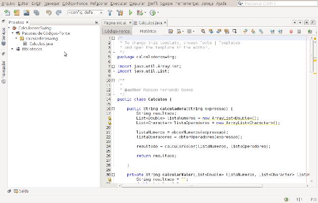 Classe Calculo.java vista no NetBeans