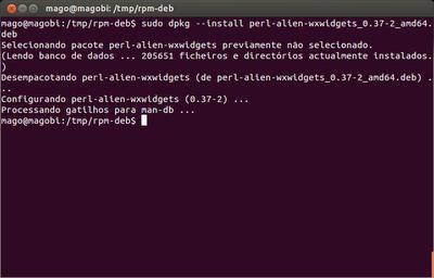 Instalação utilizando o comando dpkg