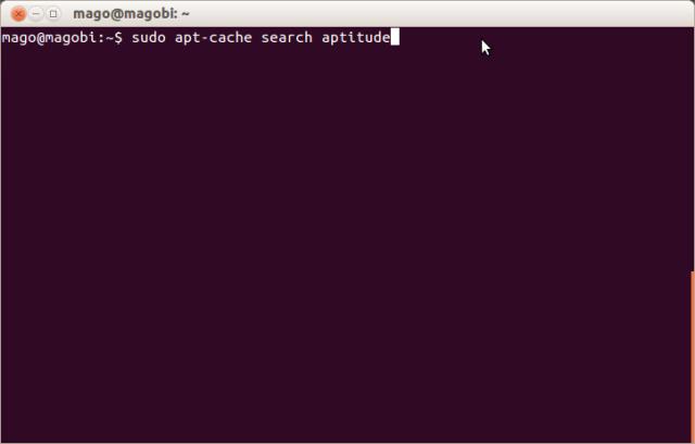 Execução da busca do programa aptitude através do comando apt-cache