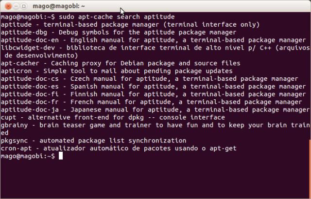 Resultado da execução do comando apt-cache