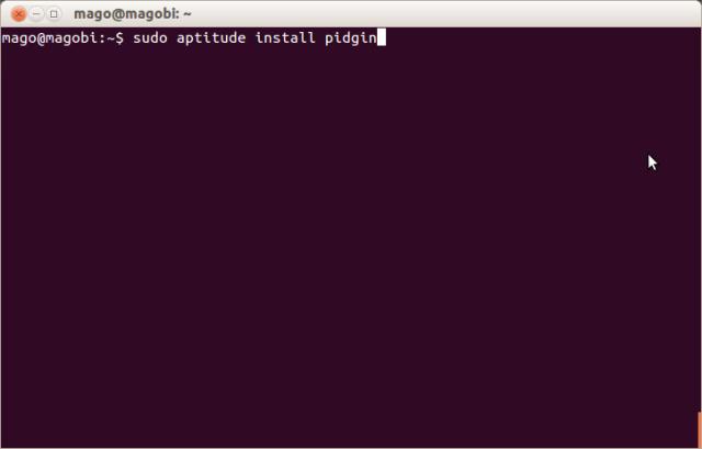 Utilização do gerenciador aptitude para instalação do pidgin