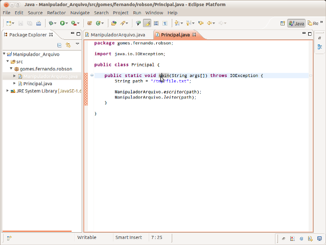 Classe Principal.Java no editor