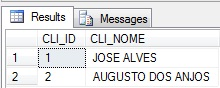 Resultado do SELECT mostrando os dados inseridos.