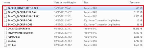 Janela mostrando os arquivos de backup de log  e diferencial.