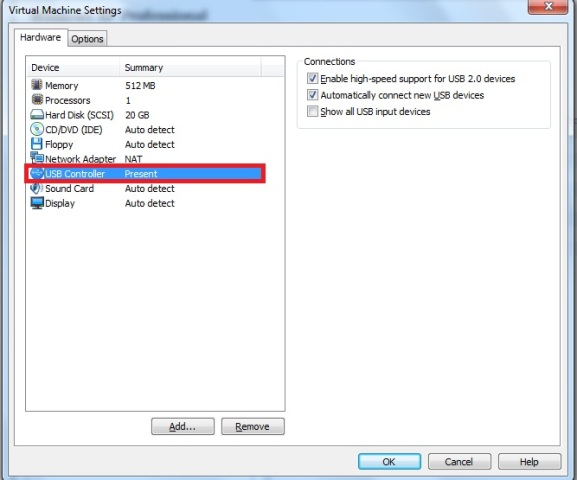 Janela Virtual Machine Settings � aba hardware � op��o USB controller