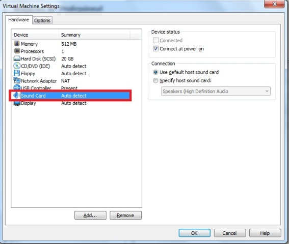 Janela Virtual Machine Settings – aba hardware – opção sound card