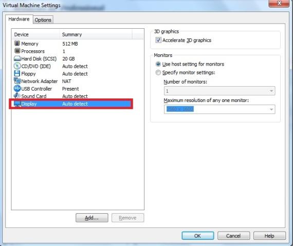 Janela Virtual Machine Settings – aba hardware – opção display