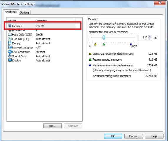 Janela Virtual Machine Settings – aba hardware – opção memória