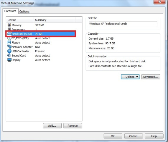 Janela Virtual Machine Settings � aba hardware � op��o hard disk
