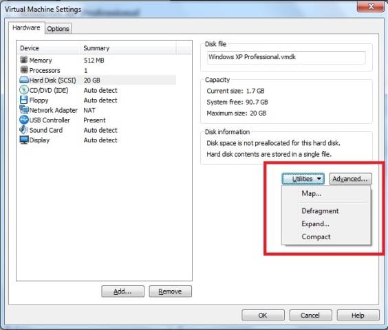 Janela Virtual Machine Settings – aba hardware – opção hard disk