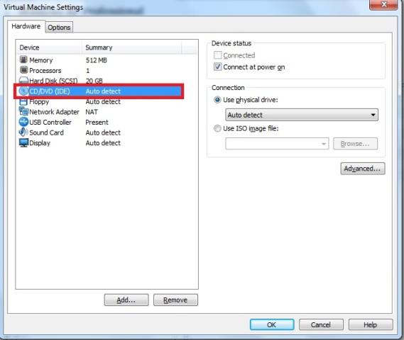 Janela Virtual Machine Settings – aba hardware – opção CD/DVD (IDE)