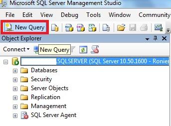 Management Studio mostrando o botão NEW QUERY