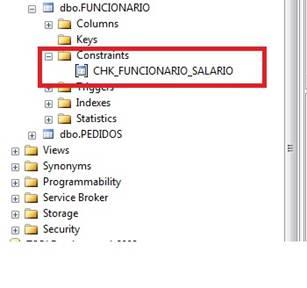 Management Studio, OBJECT EXPLORER, mostrando Constraint de Verificação