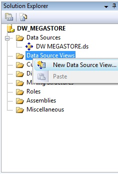 SOLUTION EXPLORER, criando um DATA SOURCE VIEW