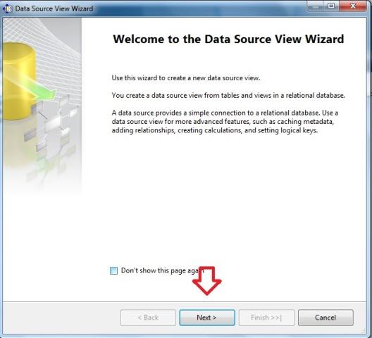 Assistente para iniciar a criar um DATA SOURCE VIEW