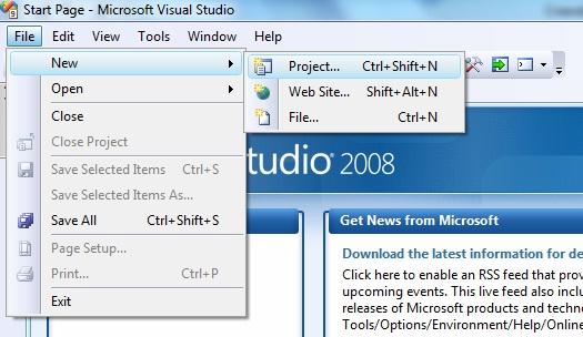 Janela do Visual Studio 2008 iniciando a criação de um projeto