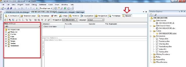 Visual Studio, mostrando a opção BROWSER aberta