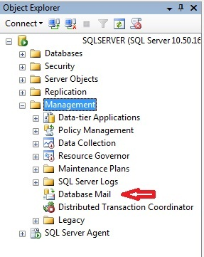 Janela do OBJECT EXPLORER no SQL Server Management Studio