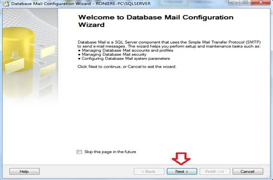 Janela de boas vinda do Database Mail Configuration
