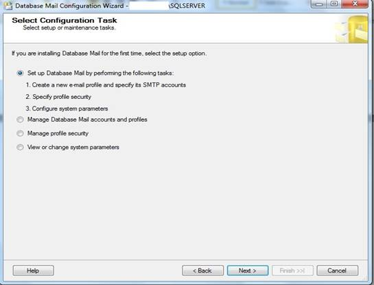 Janela do Database Mail Configuration Wizard, Select Configuration Task