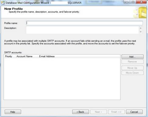 Janela do Database Mail Configuration Wizard, New Profile