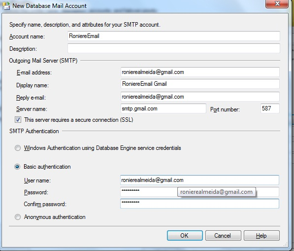 Janela do Database Mail Configuration Wizard, Manage Existing Accound