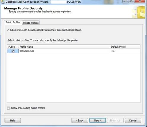 Janela do Database Mail Configuration Wizard, Manage Profile Security