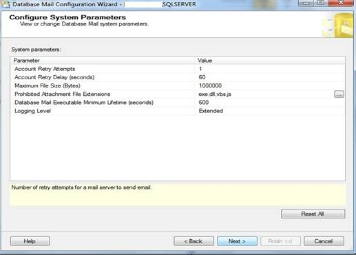 Janela do Database Mail Configuration Wizard, Configure System Parameters