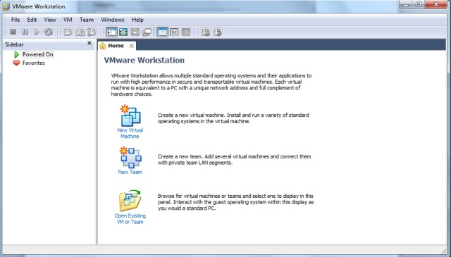 Janela inicial do VMWare Workstation