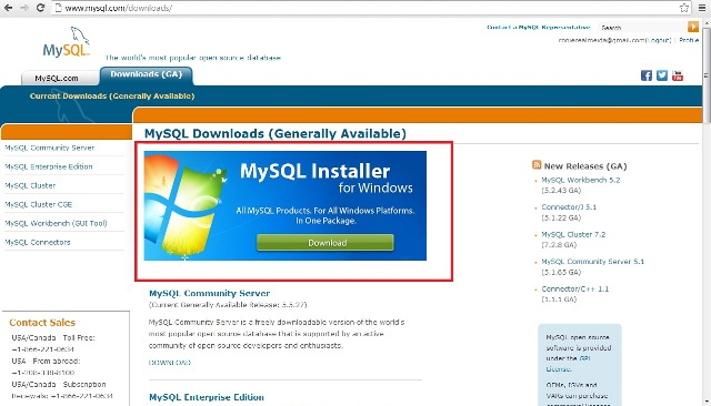 Site oficial do MySQL mostrando a op��o de download