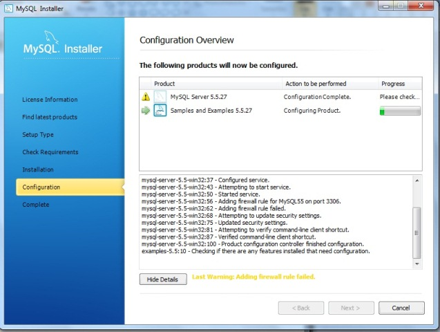 Continuação da configuração do servidor