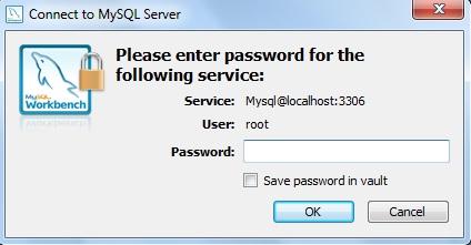Janela de login para acesso ao MySQL