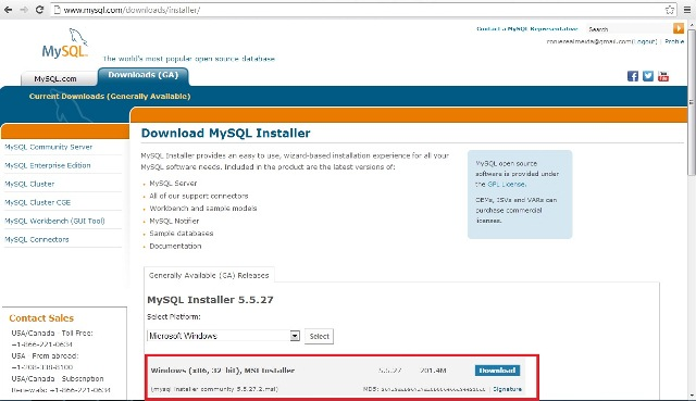 Site oficial do MySQL mostrando o bot�o de download