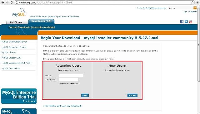 Site oficial do MySQL, fazer login ou cadastro