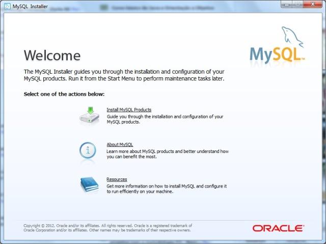 Janela de boas vindas da instalação do MySQL