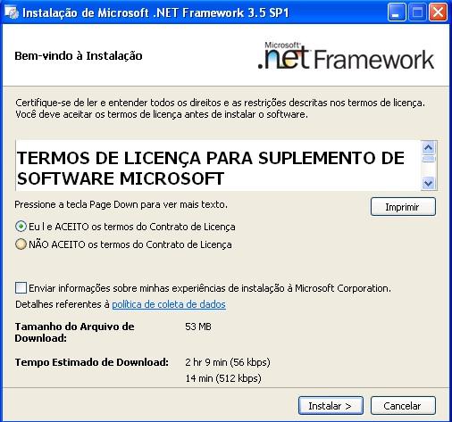 Janela inicial da Instalação do .NET Framework