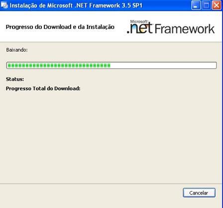 Janela de processo de instalação do .NET Framework