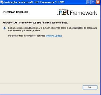 Janela de conclusão de instalação do .NET Framework