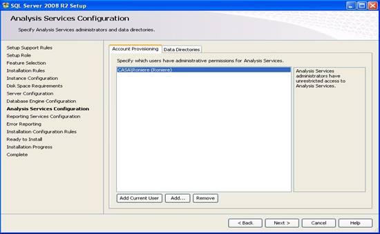 Janela de configuração do Analysis Services