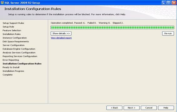 Janela de processo de instalação de roles internas do SQL Server