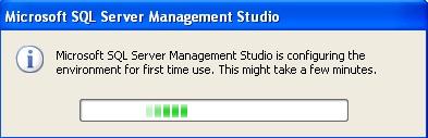 Janela de configuração do primeiro uso do Managemant Studio