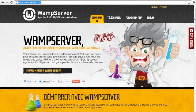 P�gina inicial do site oficial do WampServer