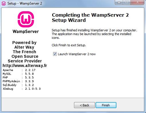 Janela informando que o WampServer foi instalado
