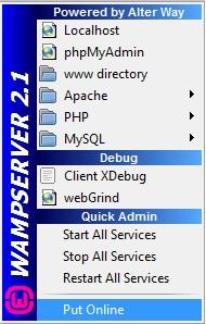 Op��o para deixar o WampServer online