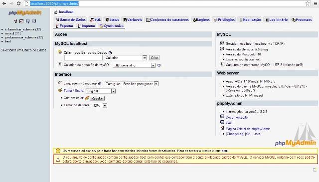 P�gina do PHPMYADMIN do WampServer
