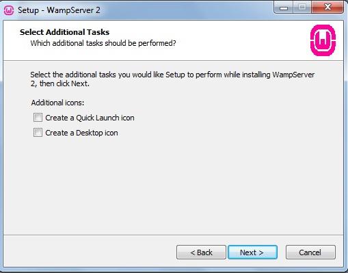 Criação de icons de acesso do WampServer